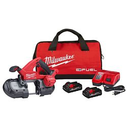 Milwaukee Tool M18 FUEL 18V Lithium-Ion Brushless Cordless Compact Bandsaw Kit with two 3.0 Ah Batteries