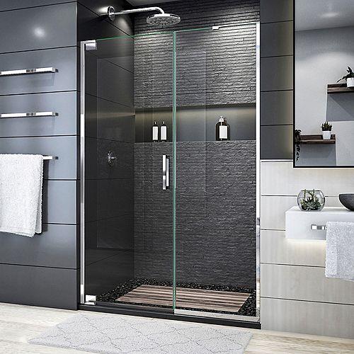 DreamLine Elegance Plus 46-46 3/4 inch W x 72 inch H Frameless Pivot Shower Door in Chrome