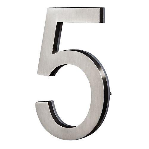 PRO-DF LED Backlit House Number - Satin Nickel #5