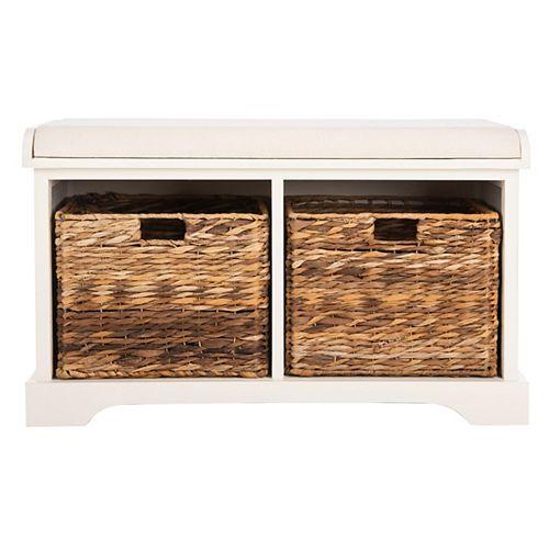 Safavieh Freddy Distressed White Storage Bench
