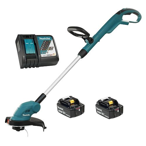 MAKITA 10.25-inch 18V LXT Cordless Line Trimmer with 3.0 Ah Batteries & Rapid Charger