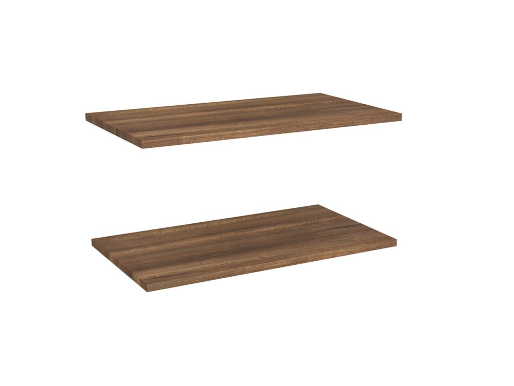 Impressions 25 in. Standard Extra Shelves in Walnut (2 Pack)