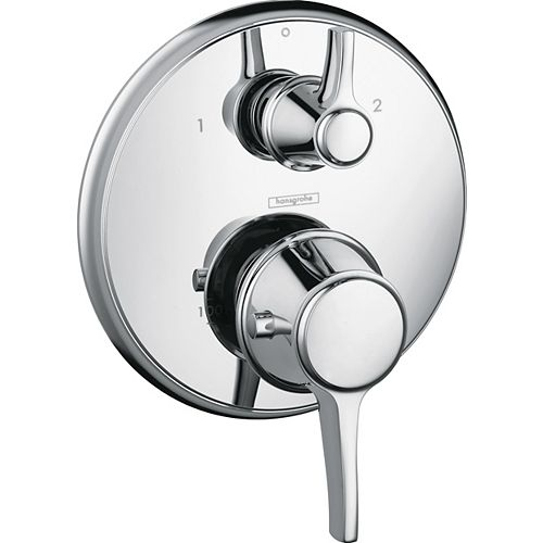 Hansgrohe Ecostat C 2-Handle Thermostatic Valve Trim Kit with Volume Control in Chrome (Valve Sold Separately)
