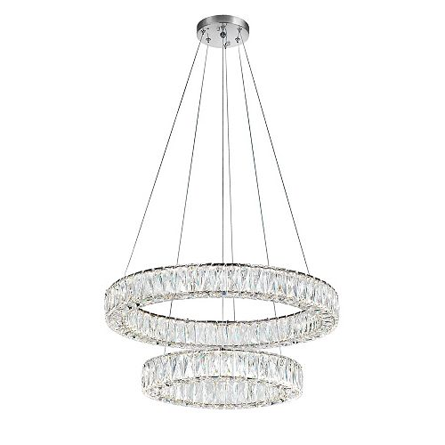 CWI Lighting Madeline 32-inch LED Chandelier with Chrome Finish and Clear Crystals