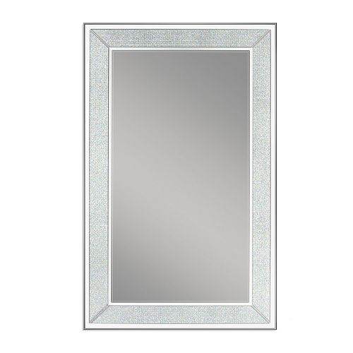 Deco Mirror 20 in. x 32 in. Silver Pave Wall Mirror