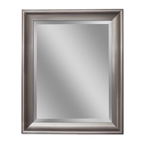 Deco Mirror 28 in. x 34 in. Transitional Brush Nickel Wall Mirror
