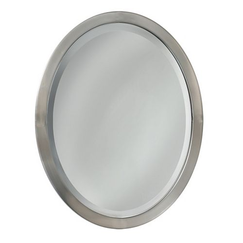 Deco Mirror 23 in. x 29 in. Brush Nickel Oval Wall Mirror
