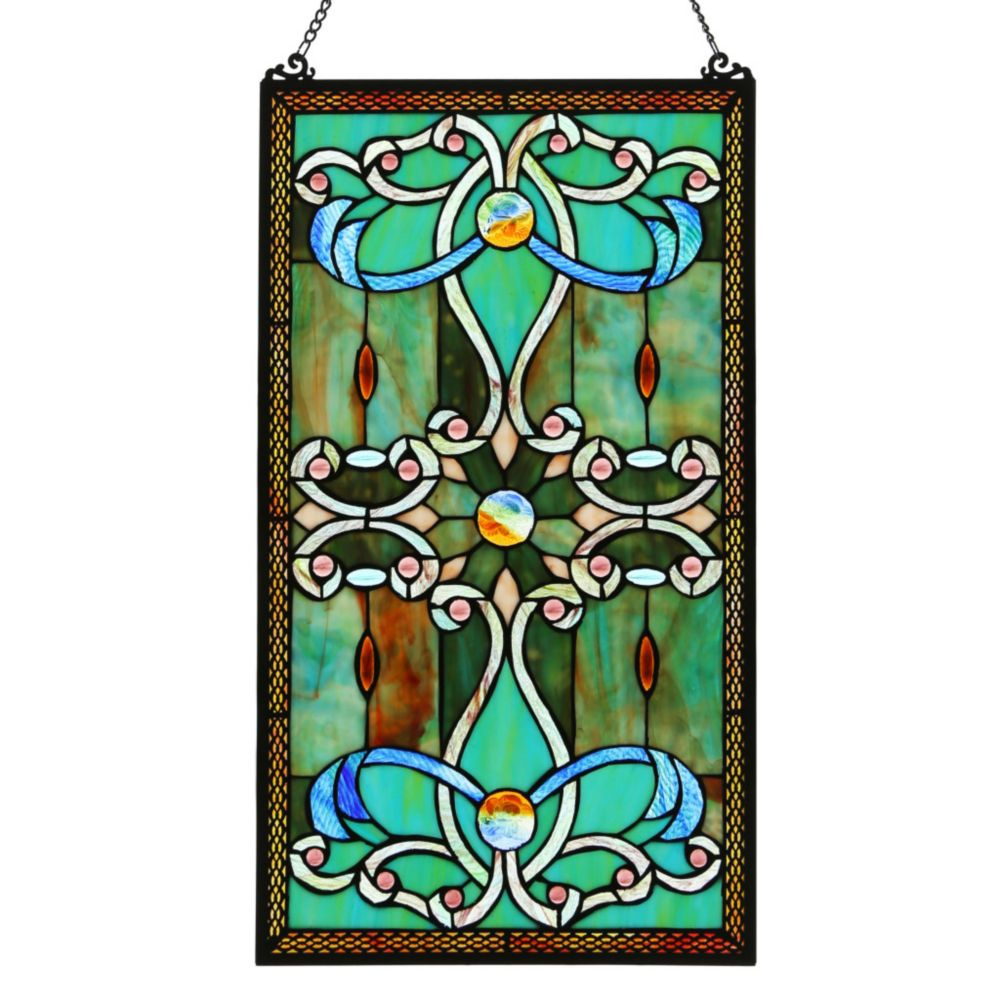 """Colorful Stained Glass Hanging Window Panel Home Decor Suncatcher 25/""""H"""