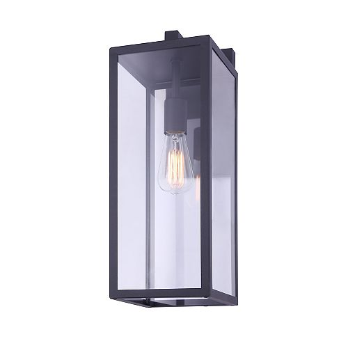 Canarm MONTANA 20 inch large 1-light black outdoor wall light with clear glass panels