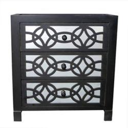 IH Casa Decor Glam Slam 3 Drawer Black Cabinet