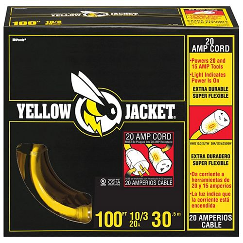Southwire Lighted End 10/3 SJTW 100 ft. Heavy Duty Yellow Jacket Extension Cord