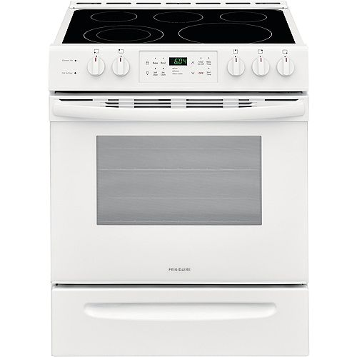Frigidaire 30-inch 5.0 cu. ft. Front Control Freestanding Electric Range with Self-Cleaning Oven in White