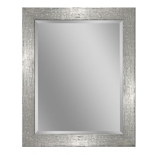 Deco Mirror 28 in. x 34 in. White/Chrome Driftwood Wall Mirror