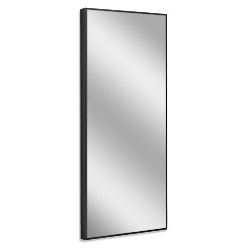 Deco Mirror 25 in. x 64 in. Black Studio Float Leaner Mirror