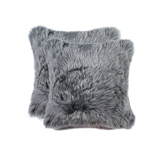 Natural New Zealand Sheepskin Fur 18 inch x 18 inch Pillow (Set of 2) Grey