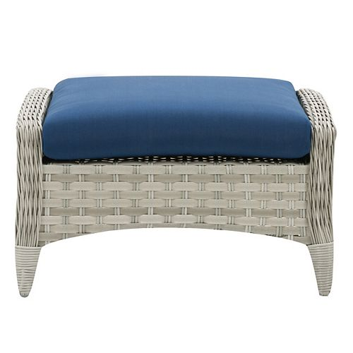 Corliving CorLiving Wide Rattan Wicker Patio Foot Stool, Blended Grey with Navy Blue Cushion