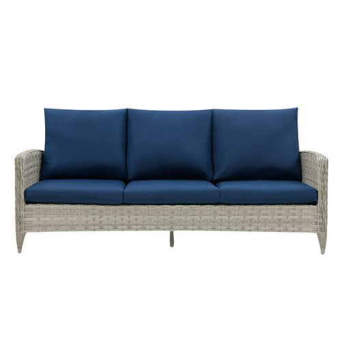 Corliving CorLiving Wide Rattan Wicker Patio Sofa, Blended Grey with Navy Blue Cushions