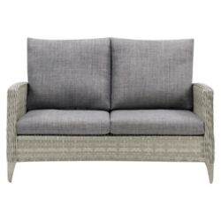 CorLiving Wide Rattan Wicker Patio Loveseat, Blended Grey with Textured Grey Cushions