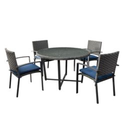 CorLiving 5pc Rattan Wicker Patio Dining Set in Distressed Charcoal Grey with Navy Blue Cushions