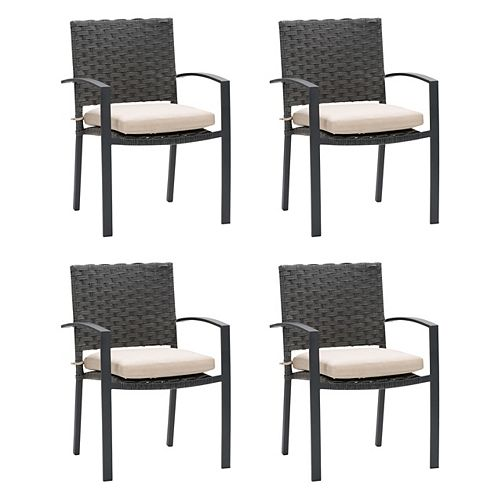 CorLiving Rattan Wicker Patio Dining Chairs in Distressed Charcoal Grey with Beige Cushions set of 4