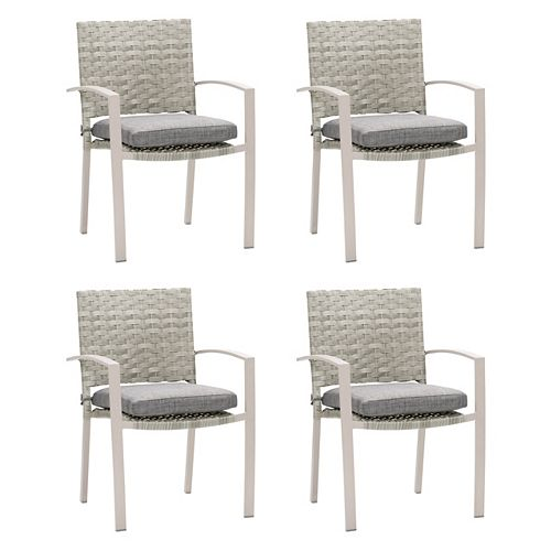 Corliving CorLiving Rattan Wicker Patio Dining Chairs in Blended Grey with Textured Grey Cushions, set of 4