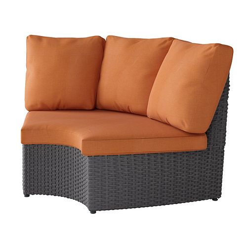 Corliving Weather Resistant Resin Wicker Curved Corner Patio Chair Distressed Charcoal Grey with Autumn Orange