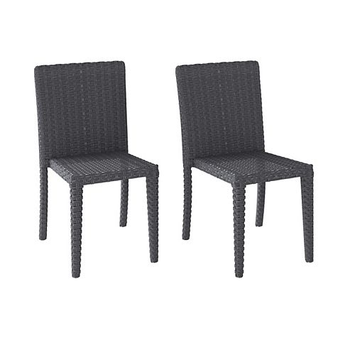 Corliving Distressed Charcoal Grey Rattan Wicker Dining Chairs, Set of 2