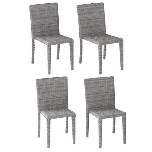 Corliving Blended Grey Rattan Wicker Dining Chairs, Set of 4