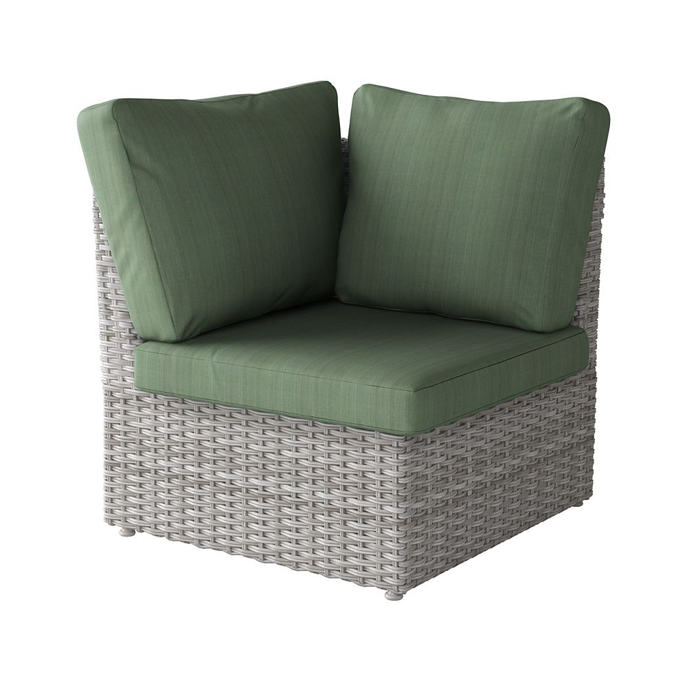 Corliving Weather Resistant Resin Wicker Corner Patio Chair, Blended Grey with Sage Green