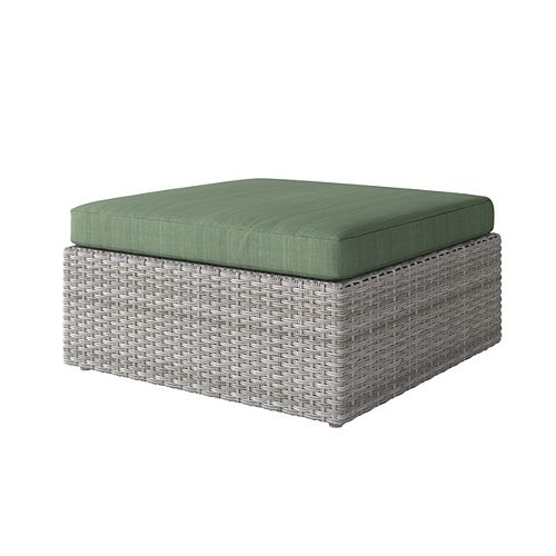 Corliving Weather Resistant Resin Wicker Oversized Patio Ottoman, Blended Grey with Sage Green