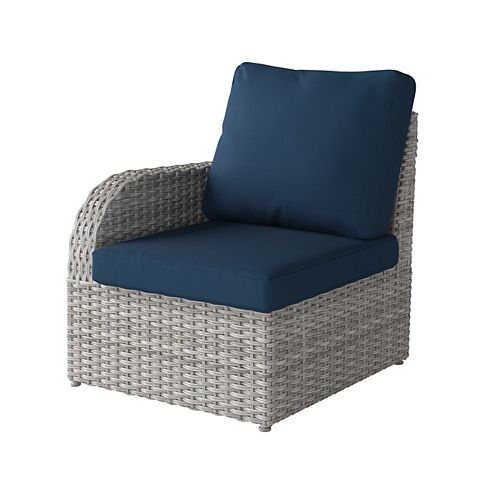 Corliving Weather Resistant Resin Wicker Left Arm Patio Chair, Blended Grey with Navy Blue