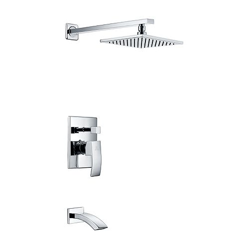 ANZZI Spirito Series Single Handle Wall Mounted Showerhead and Bath Faucet Set in Polished Chrome