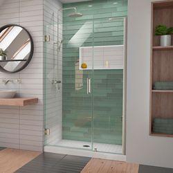 DreamLine Unidoor-LS 46-47 inch W x 72 inch H Hinged Shower Door with L-Bar in Brushed Nickel