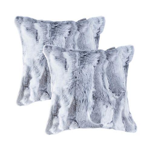 Natural Rabbit Fur 18 inch x 18 inch Pillow (Set of 2) Grey