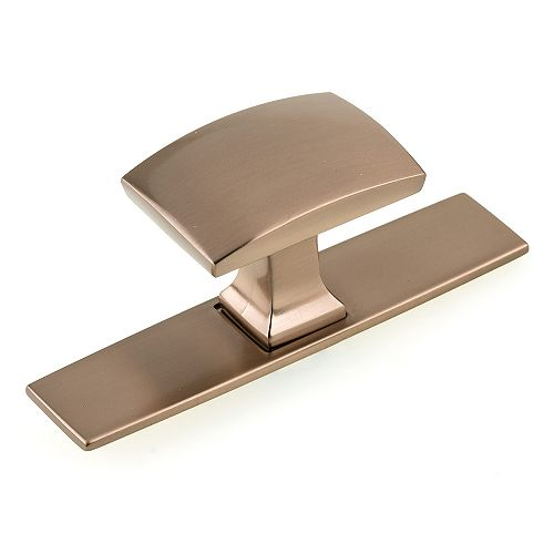 Richelieu Abbeydale 3 17/32-inch (90 mm) x 1 1/4-inch (31 mm) Champagne Bronze Contemporary Cabinet Knob Backplate