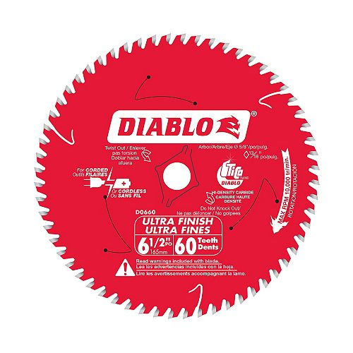 Diablo 6-1/2 Inch x 60-Tooth Ultra Finish Saw Blade