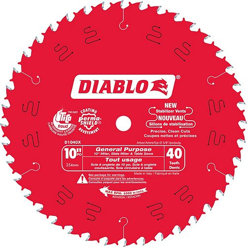 Diablo 10 Inch x 40-Tooth General Purpose Saw Blade 2-Pack
