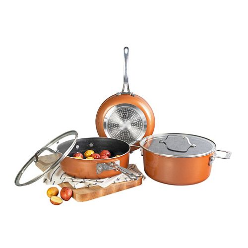 Gotham Steel Cast Texture Coating Space Saving StackMaster 5 Piece Cookware Set with Glass Lids