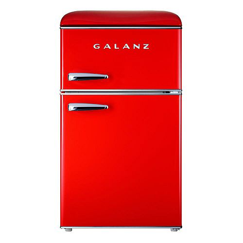 Galanz Galanz 3.1 cu. ft. Retro Mini Fridge with Dual Door True Freezer in Red