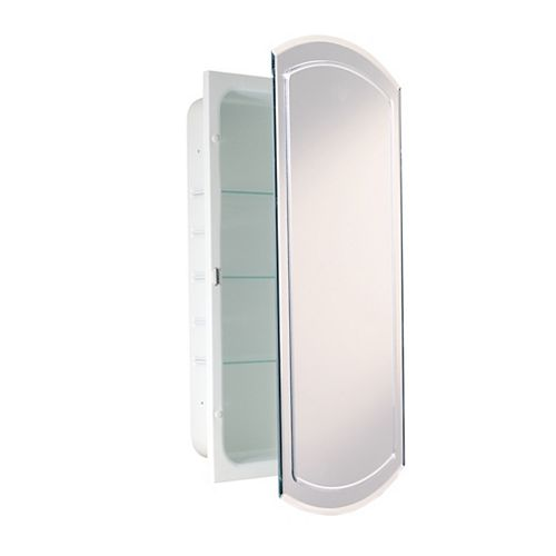 Deco Mirror 16 in. x 30 in. Recessed V Groove Medicine Cabinet