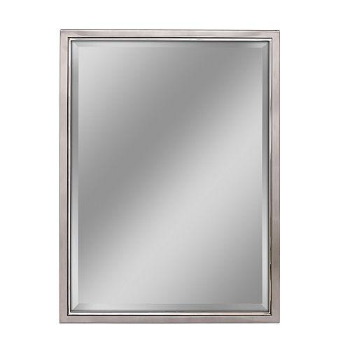 Deco Mirror 30 in. x 40 in. Brush Nickel /Chrome  Wall Mirror