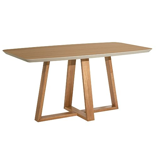 Manhattan Comfort Duffy 62.99 Rectangle Dining Table in Cinnamon and Off White