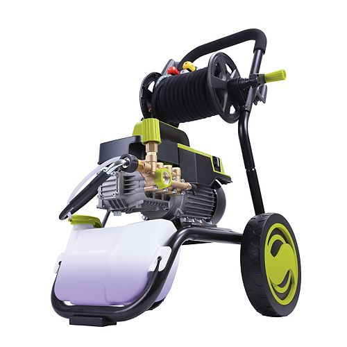 Sun Joe 1300 PSI Max 2 GPM Electric Pressure Washer with Wall Mount, Roll Cage and Hose Reel