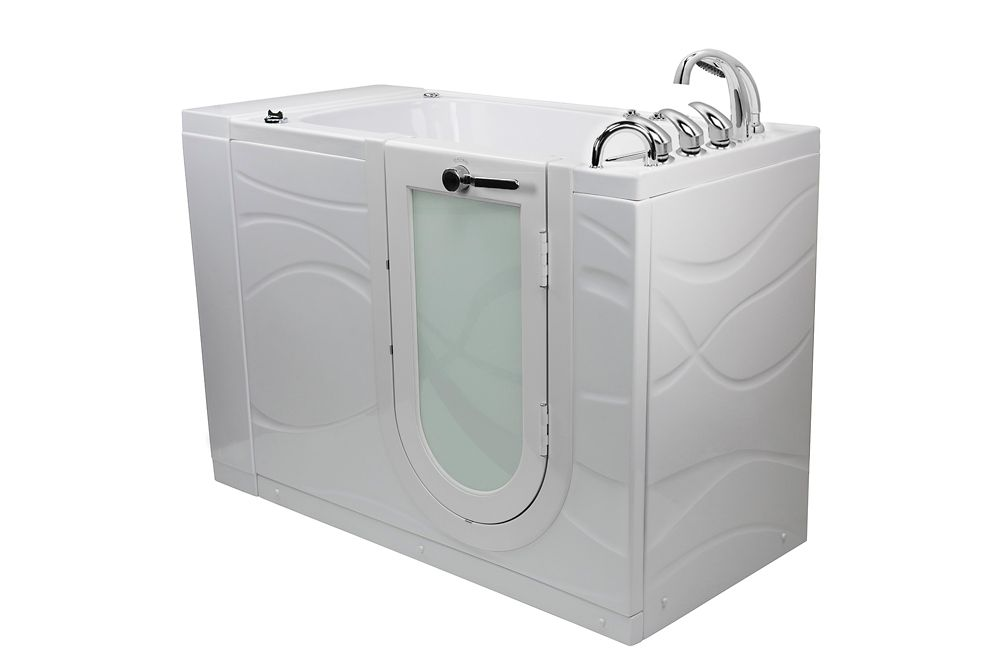 Chi 4 ft. 4-inch Alcove Right Drain Whirlpool and Air Walk-in Bathtub in White, Fast Fill Faucet