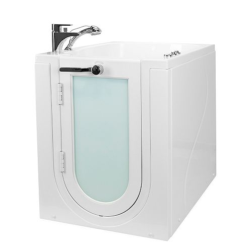 Ella Front Entry 3 ft. 4-inch Alcove Left Drain Whirlpool and Air Walk-in Bathtub in White, Faucet Set