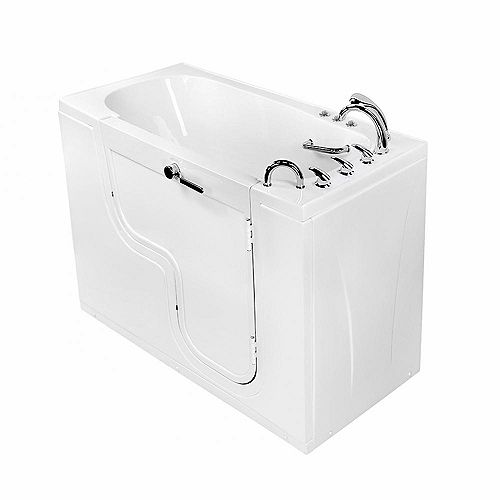 Ella Transfer60 5 ft.  Alcove Right Drain Whirlpool and Air Walk-in Bathtub in White, Fast Fill Faucet