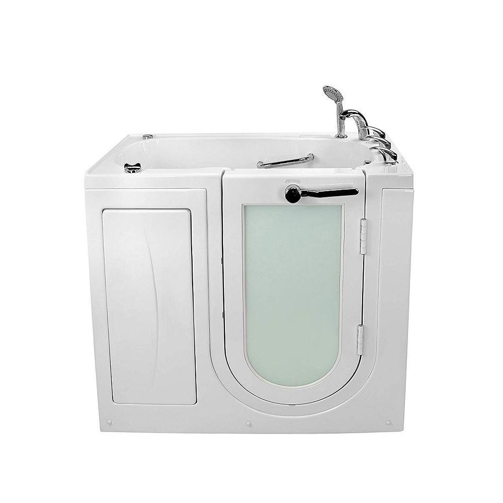 Ella Mobile 3 ft. 9-inch Alcove Right Drain Whirlpool and Air Walk-in Bathtub in White, Fast Fill Faucet