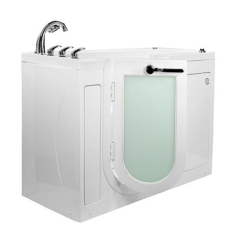Ella Lounger 5 ft.  Alcove Left Drain Whirlpool and Air Walk-in Bathtub in White, Fast Fill Faucet