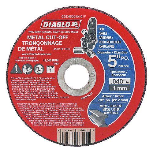Diablo 5 Inch x 7/8 Arbor Metal Cut-Off Disc Type 1