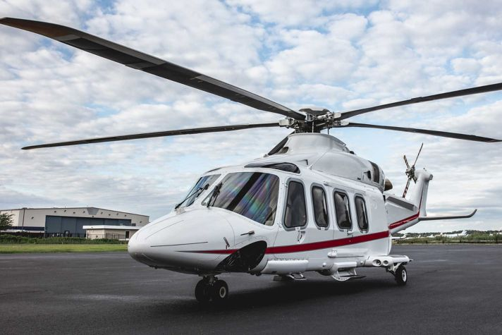 AW139 Helicopter Side View on Ramp
